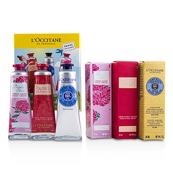 LOccitane Lovelier Hands Kit: 2x Rose Velvet 30ml + 2x Pivoine Flora 30ml + 2x Manteca Shea 30ml