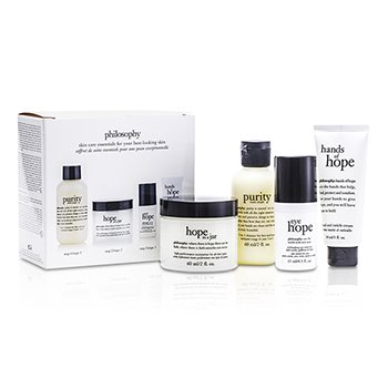 Philosophy Hope for the Best Coffret: Limpiador 60ml + Hidratante 60ml + Crema de Ojos 15ml + Crema de Manos30ml