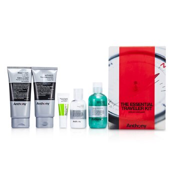 Anthony Logistics For Men The Essential Traveler Kit:  Cleanser + Mositurizer + Lip Blam + Shave Cream + Hair & Body Wash