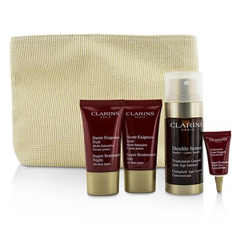 Clarins Skin-Replenishing Expert Set: Doble Suero 30ml + Super Restorative Crema Día 15ml + Crema Noche 15ml + Concentrado Ojos  3ml + Bolsa