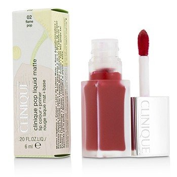 Clinique Pop Liquid Color de Labios Mate + Primer - # 02 Flame Pop