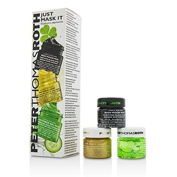 Peter Thomas Roth Kit Just Mask It: Irish Moor Mascarilla Negra de Barro Purificante 15ml + Mascarilla de 24k de Oro 15ml + Mascarilla en Gel de Pepino 15ml
