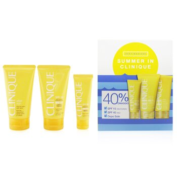 Clinique Summer In Clinique Coffret: Crema Facial SPF 40 50ml+ Crema Facial/Corporal SPF 15 150ml + Bálsamo Con Áloe Rescate Para Después del Sol 150ml