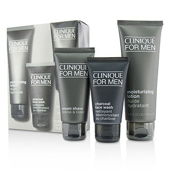 Clinique Set Custom-Fit Hidratación Diaria: Charcoal Jabón Facial 50ml + Crema de Afeitar 60ml + Loción Hidratante 100ml