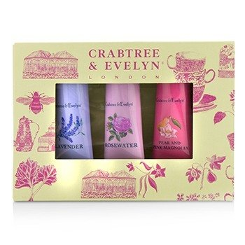Crabtree & Evelyn Set Florals Terapia de Manos (1x Pear & Pink Magnolia, 1x Rosewater, 1x Lavender)