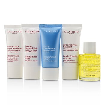 Clarins French Beauty Box: 1x Limpiador 30ml, 1x HydraQuench Crema 30ml, 1x Beauty Flash Bálsamo 30ml, 1x Aceite Tratamiento Corporal, 1x B/L