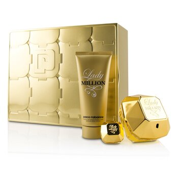 Paco Rabanne Lady Million Coffret: Eau De Parfum Spray 80ml + Eau De Parfum Splash 5ml + Sensual Body Lotion 100ml
