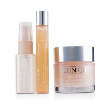 Clinique Set Moisture Surge: Impulso de Hidratación 72-Hr 75ml+ Suero Todo Acerca de Ojos 15ml+ Moisture Surge Spray Facial Alivio de Piel Sedienta 30ml