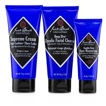 Jack Black Shave Essentials Kit: Deep Dive Glycolic Facial Cleanser + Supreme Cream Triple Cushion Shave Lather + Double Duty Face Moisturizer SPF20